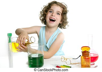 bonito, Química, pequeno, menina, tocando,...