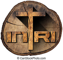 INRI - Wooden Cross on Tree Trunk - Wooden Christian cross...