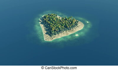 Heart shaped paradise island at ocean