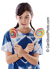 Girl with lollipops