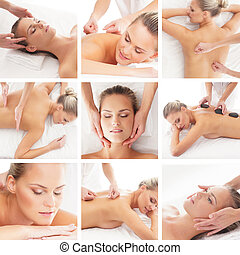 Spa collage: different tipes of massage isolated on white background