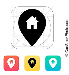 Map pin with home icon. Vector illustration.