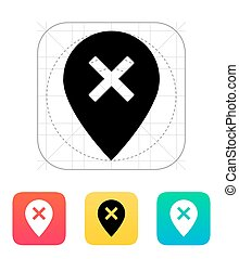 Delete map pin icon Vector illustration