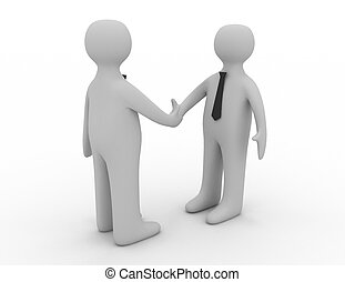 3d man shake hands