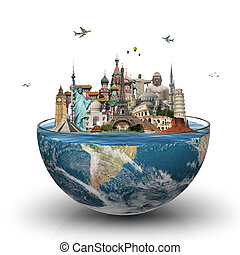Monuments of the world in a glass of water - illustration of...