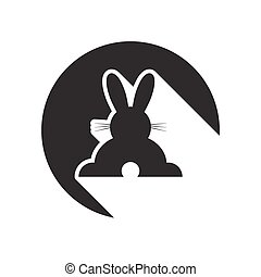 black icon with back Easter bunny