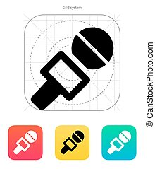 Journalist microphone icon. Vector illustration.