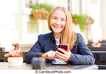 Happy young woman - Photo of happy young woman getting good...