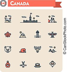 Canada travel icon set - Set of the Canada traveling related...
