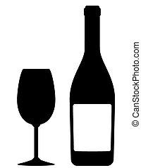 champagne bottle and glass - abstract champagne bottle and...
