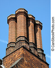 Elizabethan Chimney Stack - Old Elizabethan chimney stack in...