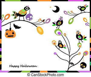 halloween card with crows