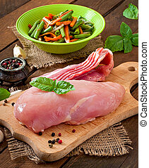 Raw ingredient stuffed Chicken roll - Raw ingredients for...