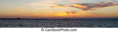 Beautiful panorama of sunset in the Donuzlav Lake, Crimea -...