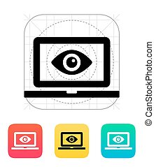 Laptop monitoring icon Vector illustration