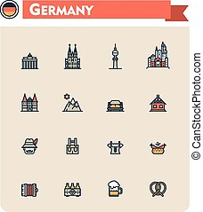 Germany travel icon set - Set of the Germany traveling...