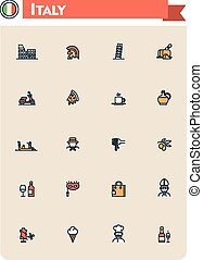 Italy travel icon set - Set of the Italy traveling related...