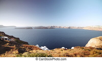 the island of Santorini, Greece, Caldera - View of the...