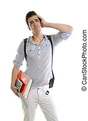 Caucasian student worried with negative gesture isolated on...
