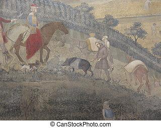 Ambrogio Lorenzetti frescoes in Siena - SIENA, ITALY - CIRCA...