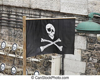 Pirate flag - Black Pirate Flag With Human Skull On Blue Sky