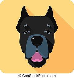 dog Cane Corso icon flat design - Vector serious dog Cane...