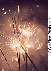 Sparkler and Snow - Bengal fire, sparkler and defocused...