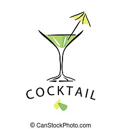 vector logo cocktail glass with umbrella