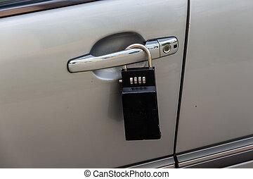 car door with padlock