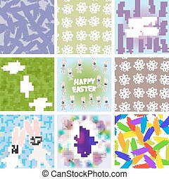 large set of Abstract grunge texture, floral seamless pattern, Happy Easter card design, Happy StPatricks Day seamless pattern Its your day freehand drawing. Vector