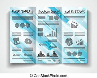 Vector tri fold brochure template design or flyer layout to...