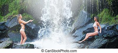 Young and beautiful girl in bikini taking bath in a...