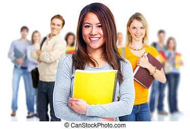Students. - Young beautiful smiling students portrait....