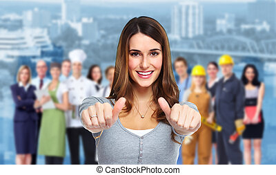 Woman and group of business people Teamwork background