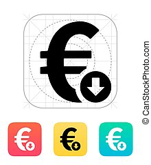 Euro exchange rate down icon. Vector illustration.