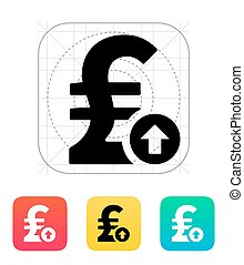 Pound sterling exchange rate up icon. Vector illustration.