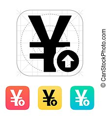 Chinese yuan exchange rate up icon. Vector illustration.
