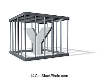 big Y in a cage - uppercase letter Y in a cage on white...