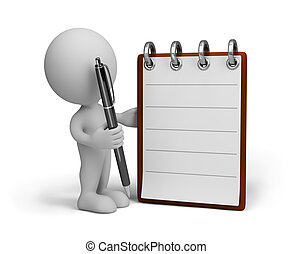 Man with diary - 3d person fills diary. 3d image. White...
