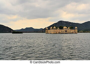 Indian water palace on Jal Mahal lake, Jaipur, India -...