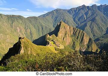 Aerial view of Machu Picchu, lost Inca city in the Andes,...