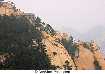 Temple at holy Mount Hua Shan, China - A buddhist temple...