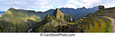 Panorama of Machu Picchu, lost Inca city in the Andes, Peru...