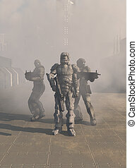 Future Space Marines Advancing - Science fiction...