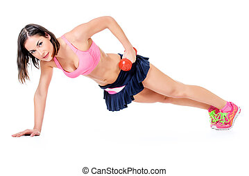 pushups - Slender young woman with beautiful athletic body...
