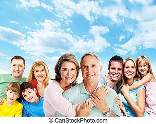 Happy family Mother father and children portrait