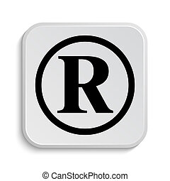 Registered mark icon. Internet button on white background....