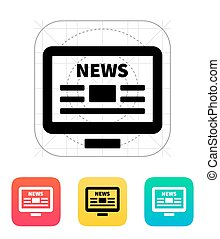 Online news. Desktop PC newspaper icon. Vector illustration.