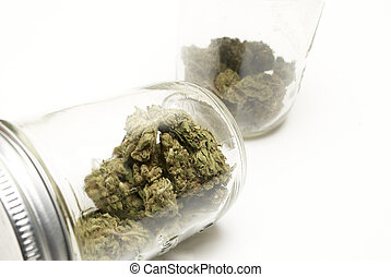 Marijuana and Cannabis on a White Background