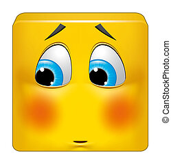 Square emoticon ashamed - Illustration on white background...